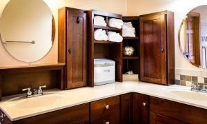 Timber style bathroom cabinets